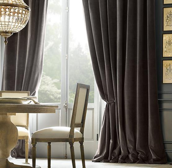 Brown velvet curtains