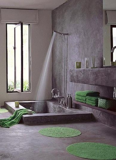 grön frotté grå betong badrum