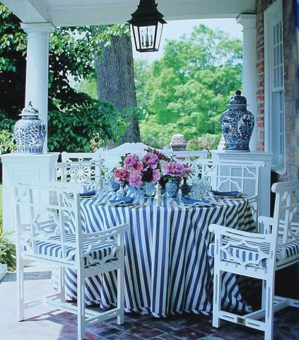 Outdoor blue and white