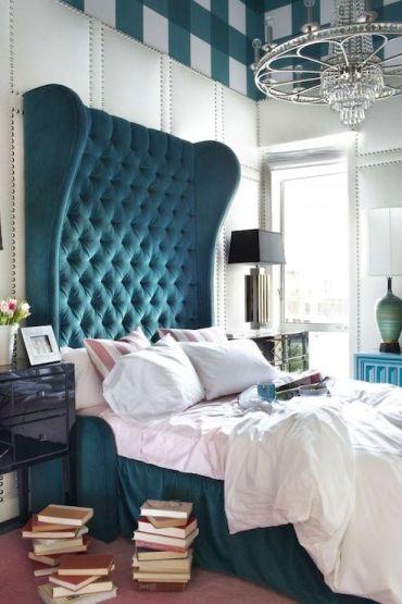 överdimensionerad turkos sänggavel