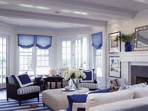 blått och vitt v-rum