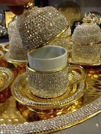 kaffekopp med diamanter