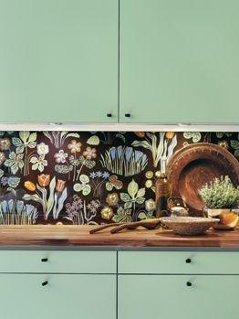 Tapet bakom glas i kök